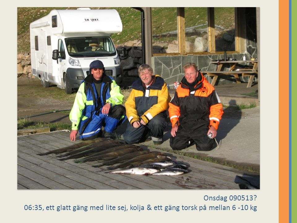 Onsdag 090513 06:35, ett glatt gäng med lite sej, kolja & ett gäng torsk på mellan 6 -10 kg