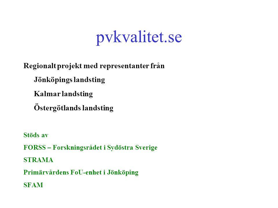 pvkvalitet.se Regionalt projekt med representanter från