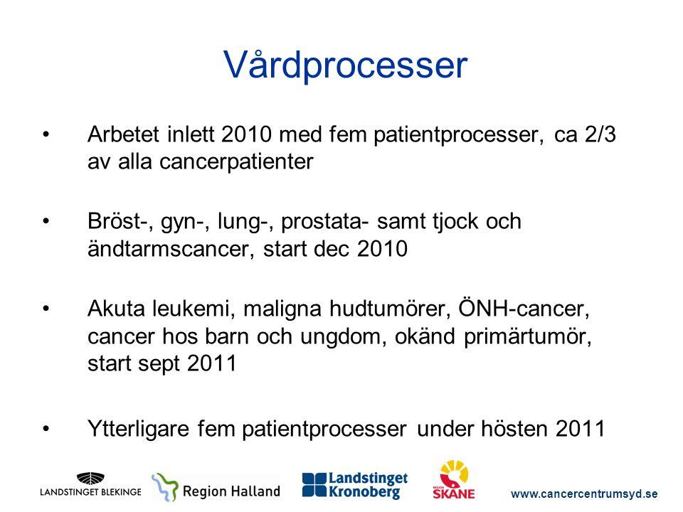 Vårdprocesser Arbetet inlett 2010 med fem patientprocesser, ca 2/3 av alla cancerpatienter.
