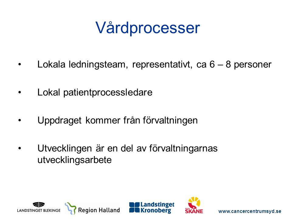 Vårdprocesser Lokala ledningsteam, representativt, ca 6 – 8 personer