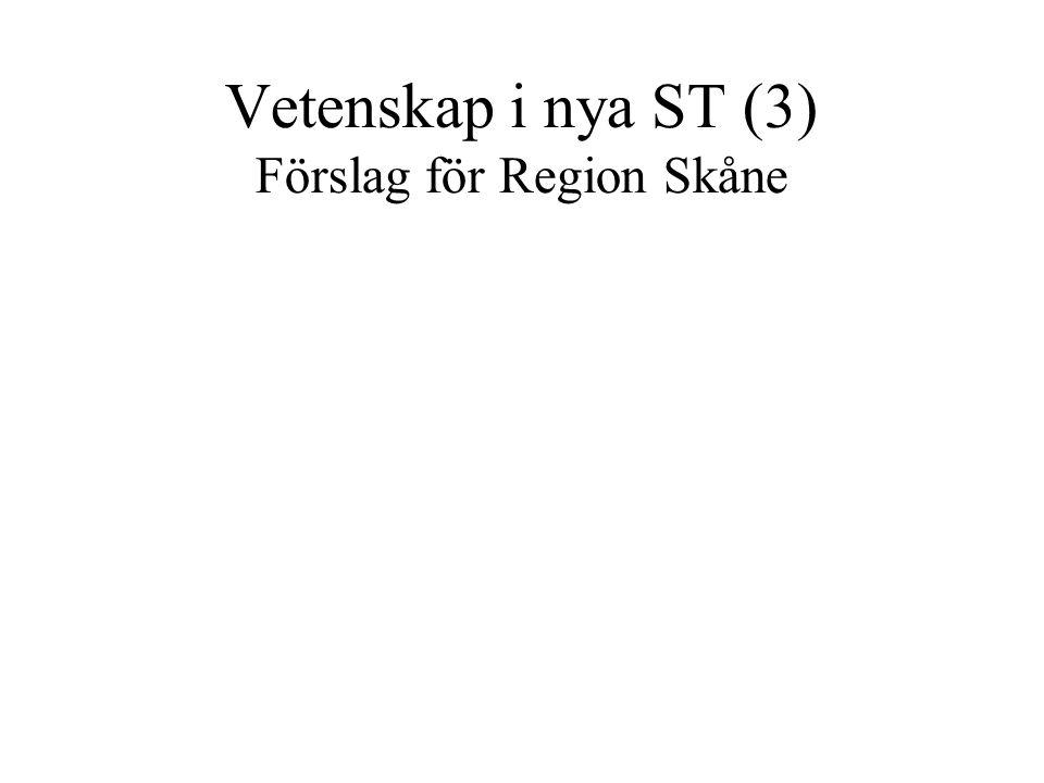 Vetenskap i nya ST (3) Förslag för Region Skåne
