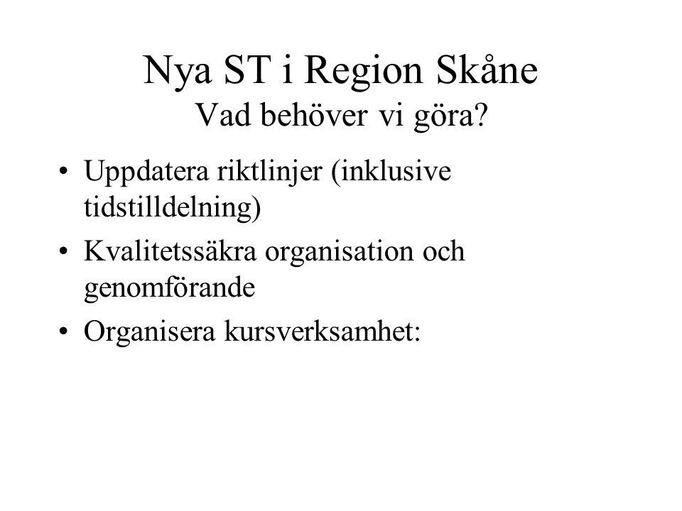 Nya ST i Region Skåne Vad behöver vi göra