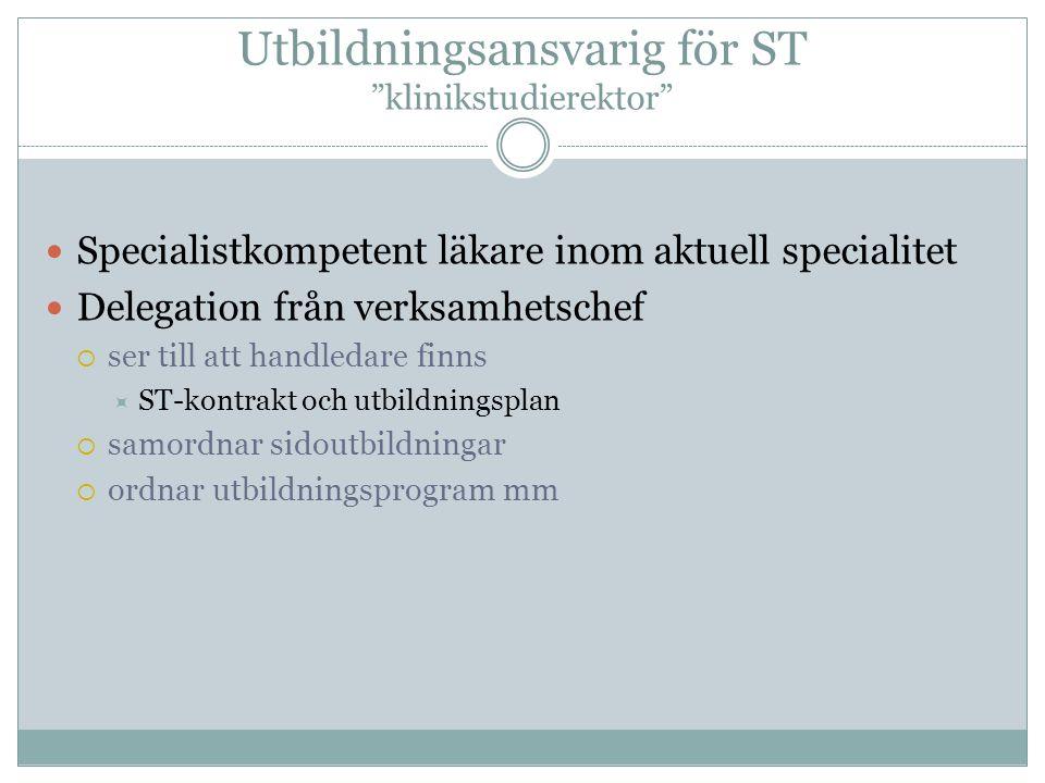 Utbildningsansvarig för ST klinikstudierektor