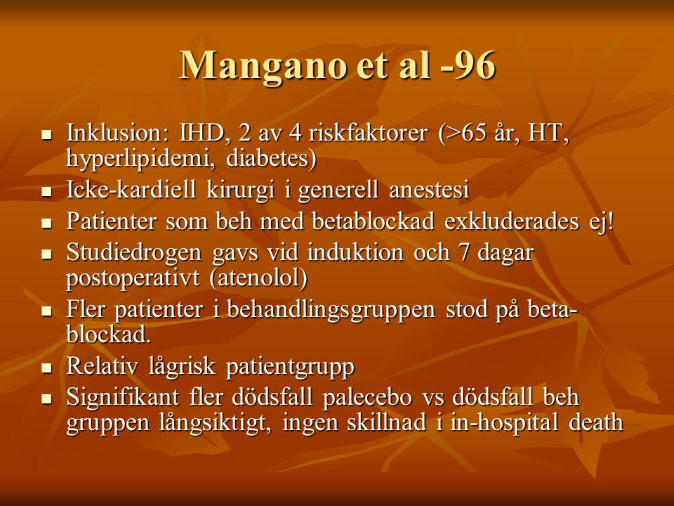 Mangano et al -96 Inklusion: IHD, 2 av 4 riskfaktorer (>65 år, HT, hyperlipidemi, diabetes) Icke-kardiell kirurgi i generell anestesi.