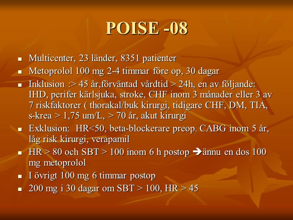 POISE -08 Multicenter, 23 länder, 8351 patienter