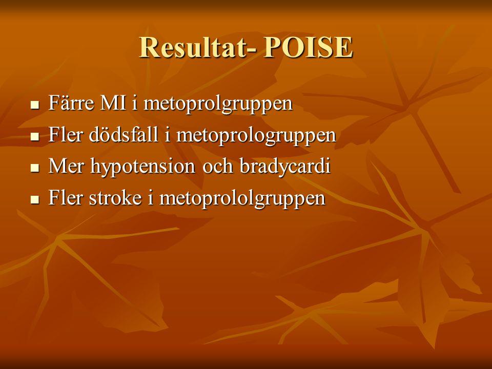 Resultat- POISE Färre MI i metoprolgruppen