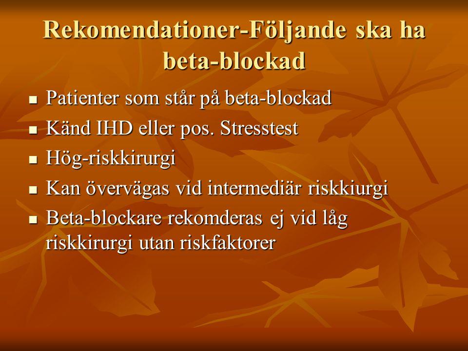 Rekomendationer-Följande ska ha beta-blockad