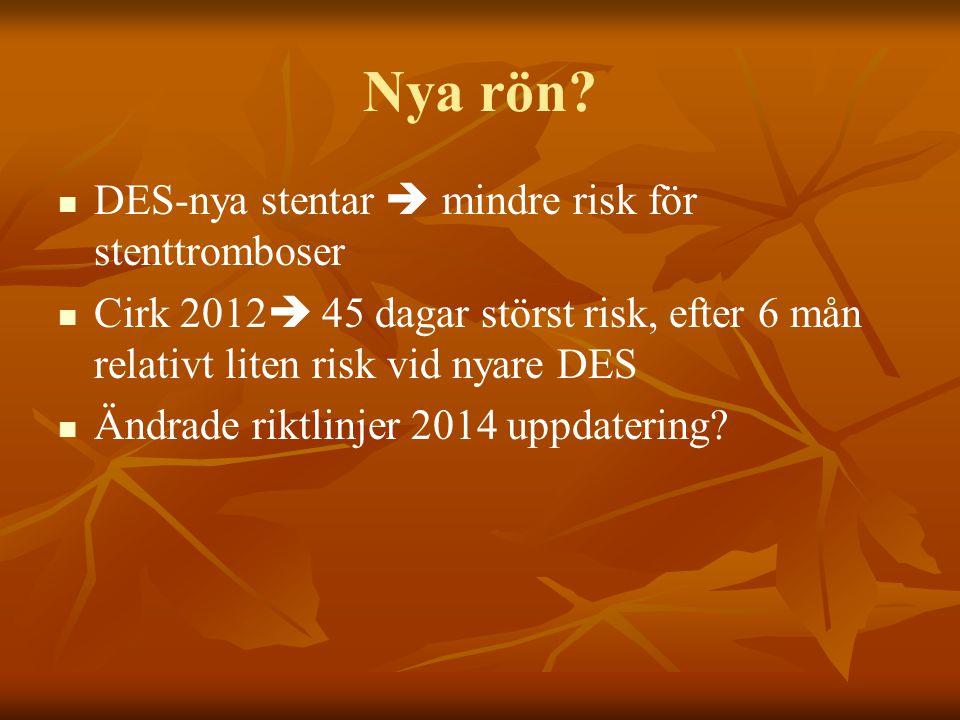 Nya rön DES-nya stentar  mindre risk för stenttromboser