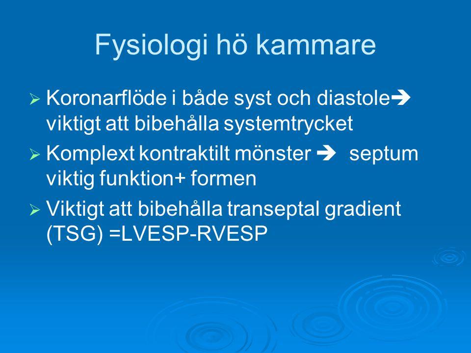 Fysiologi hö kammare Koronarflöde i både syst och diastole viktigt att bibehålla systemtrycket.