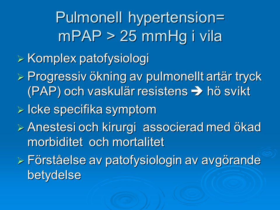 Pulmonell hypertension= mPAP > 25 mmHg i vila