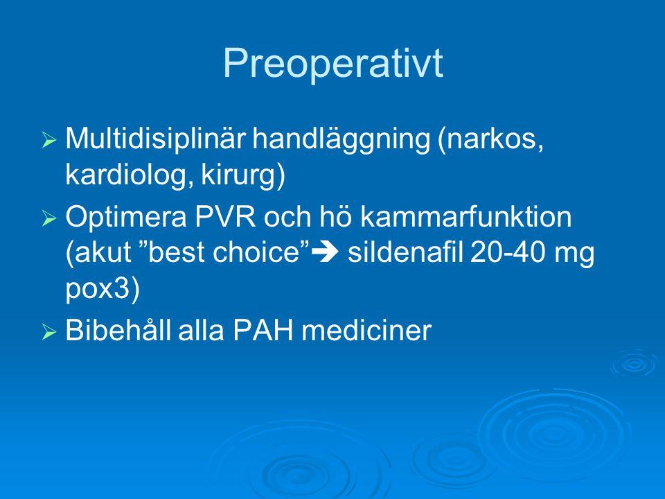 Preoperativt Multidisiplinär handläggning (narkos, kardiolog, kirurg)