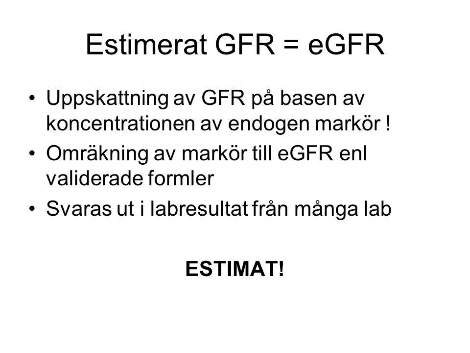 Estimerat GFR = eGFR Uppskattning av GFR på basen av koncentrationen av endogen markör ! Omräkning av markör till eGFR enl validerade formler.