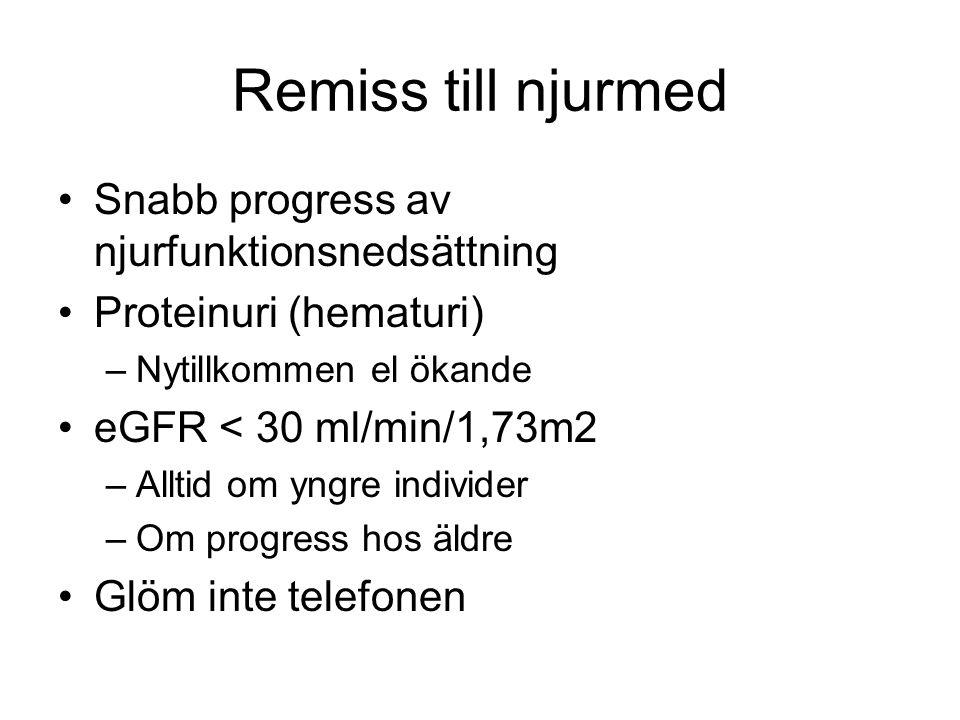Remiss till njurmed Snabb progress av njurfunktionsnedsättning