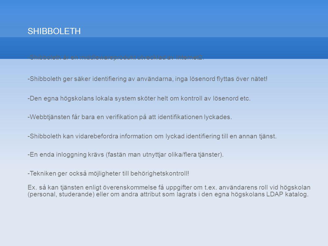 SHIBBOLETH -Shibboleth är en middlewareprodukt utvecklad av Internet2.