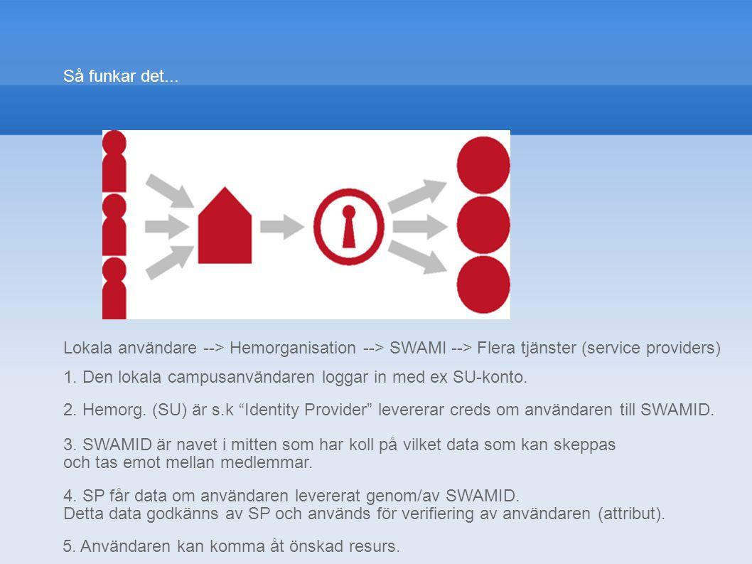 Så funkar det... Lokala användare --> Hemorganisation --> SWAMI --> Flera tjänster (service providers)