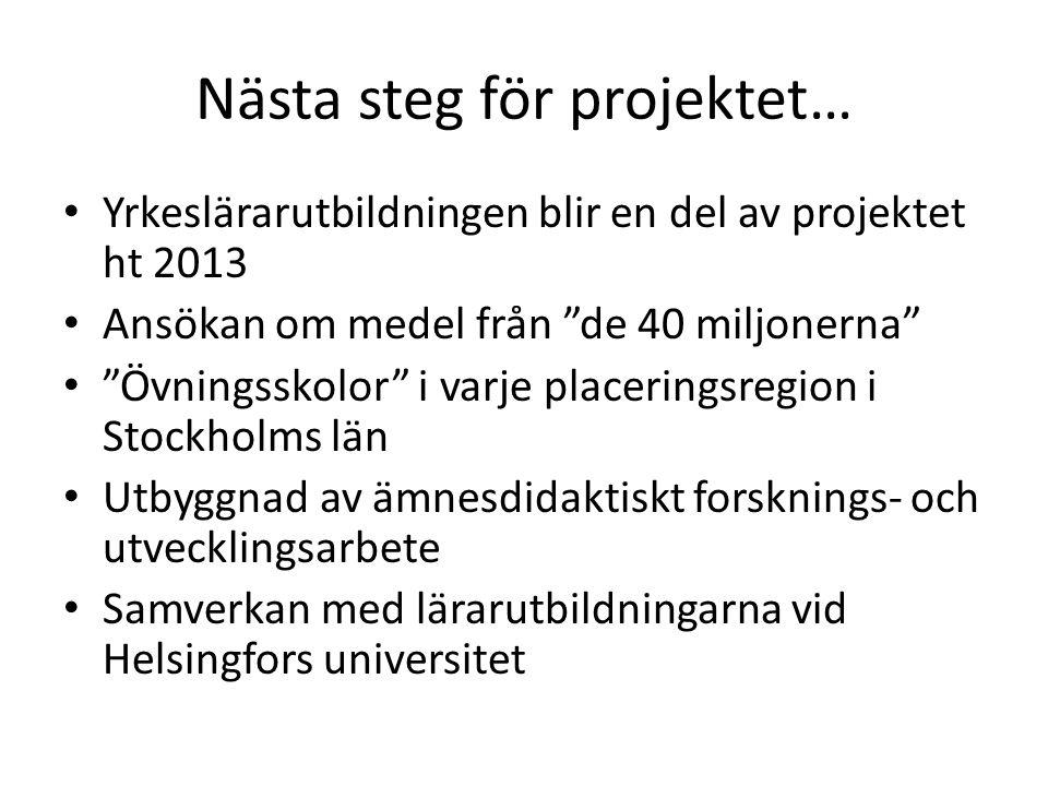 Nästa steg för projektet…