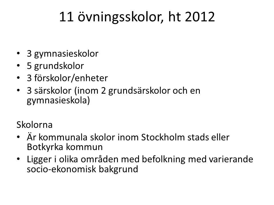 11 övningsskolor, ht 2012 3 gymnasieskolor 5 grundskolor