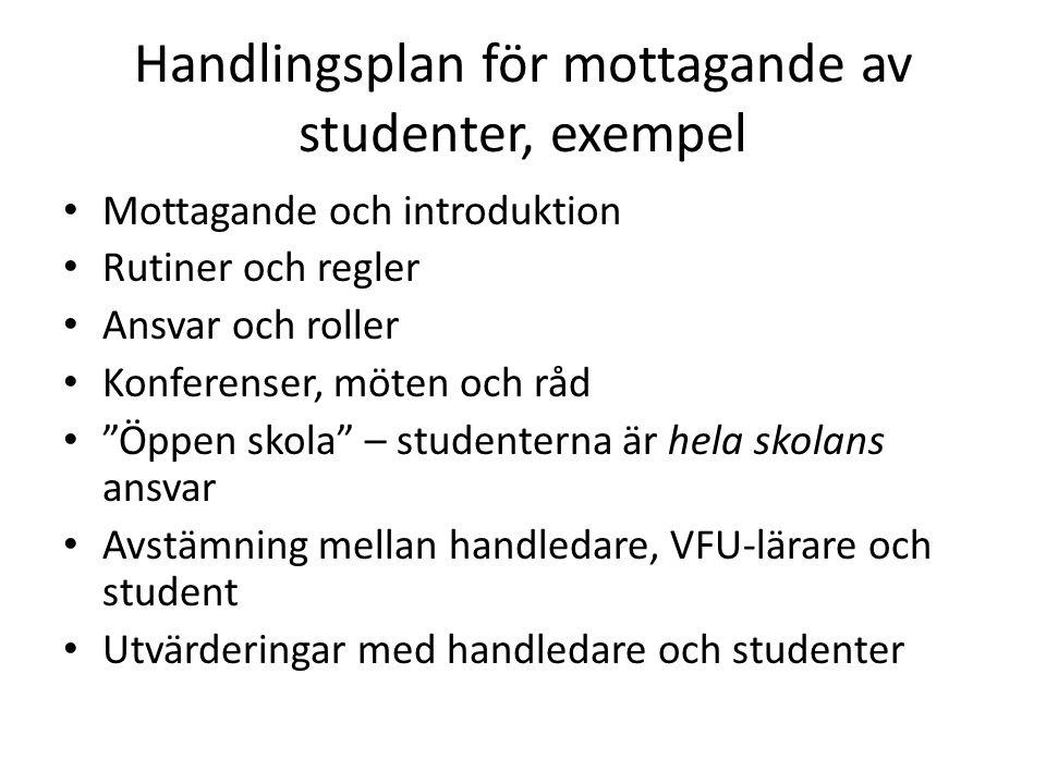 Handlingsplan för mottagande av studenter, exempel
