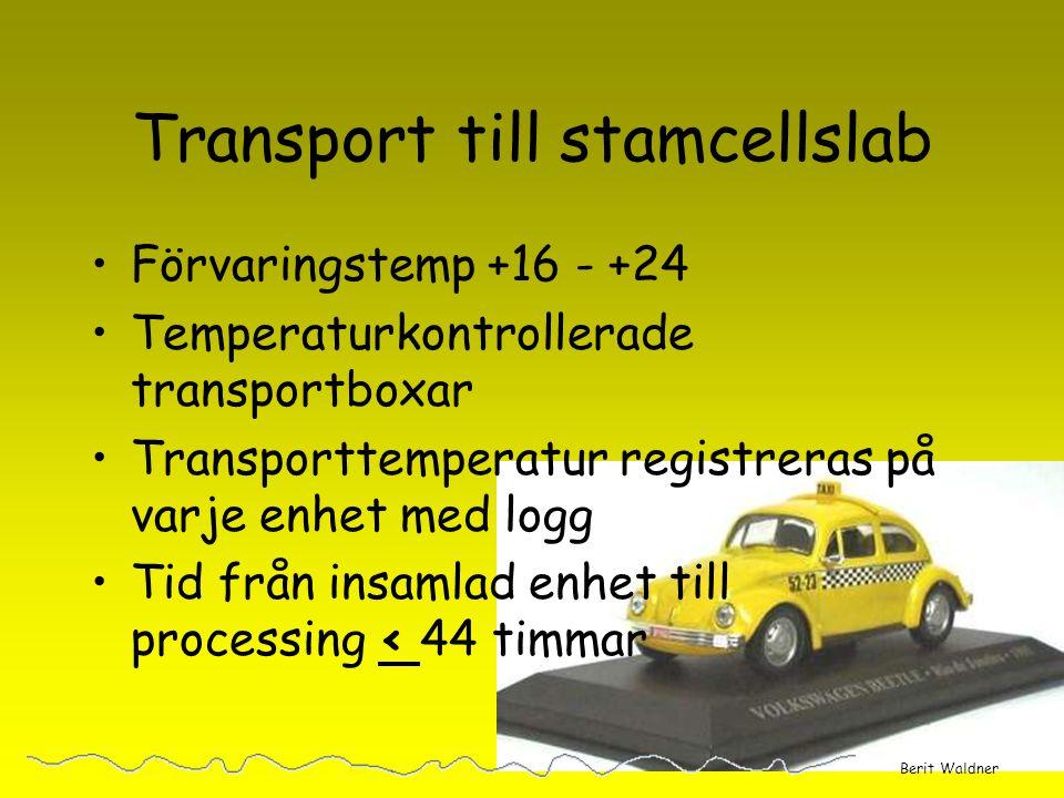 Transport till stamcellslab
