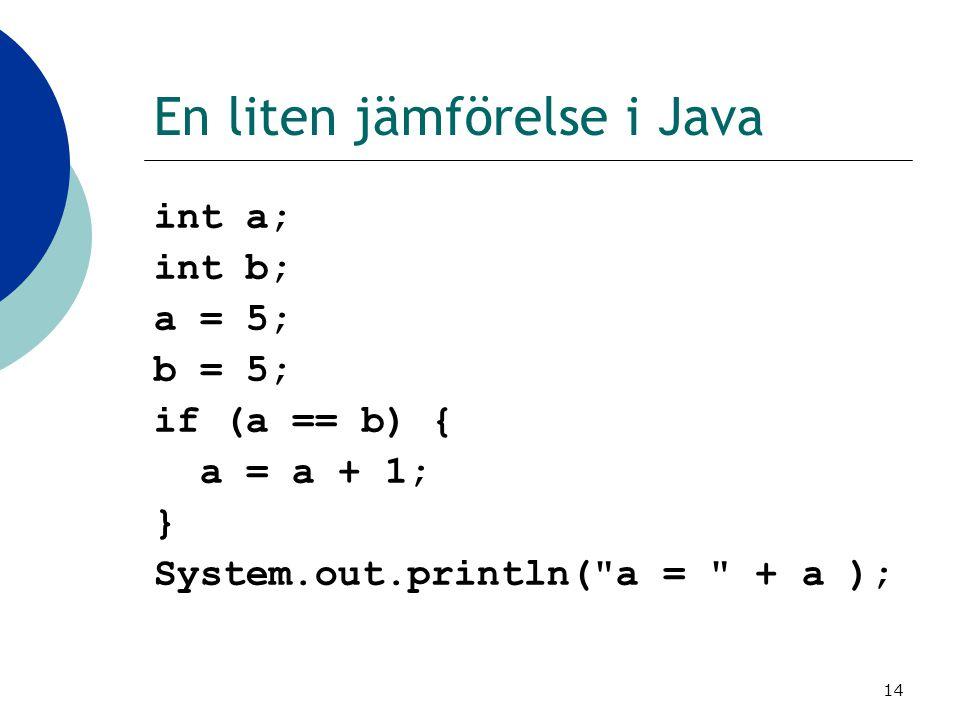 En liten jämförelse i Java