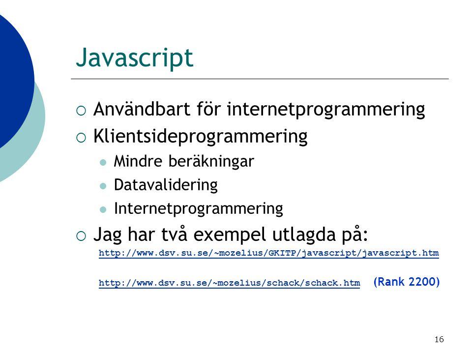 Javascript Användbart för internetprogrammering