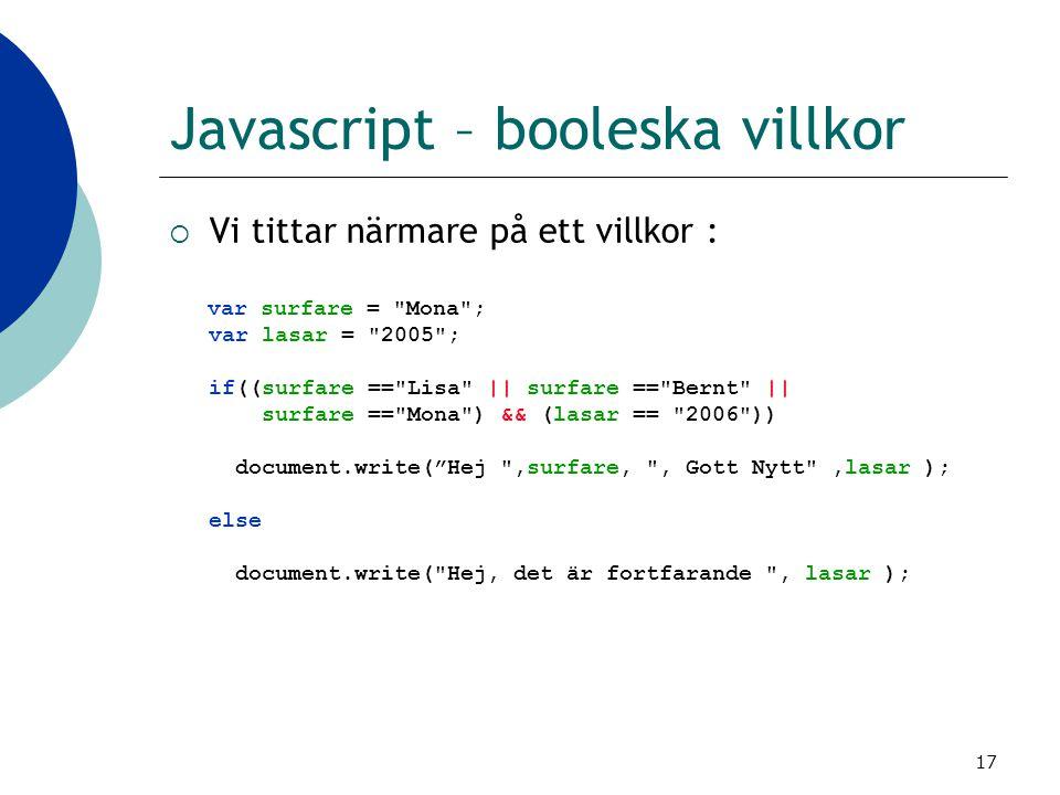 Javascript – booleska villkor