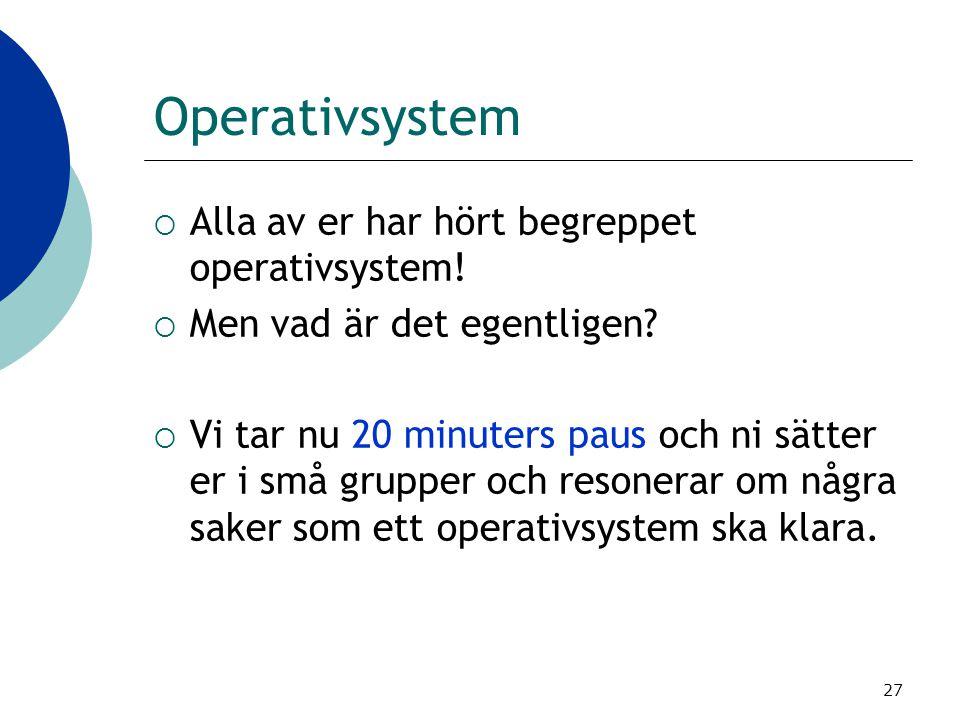 Operativsystem Alla av er har hört begreppet operativsystem!