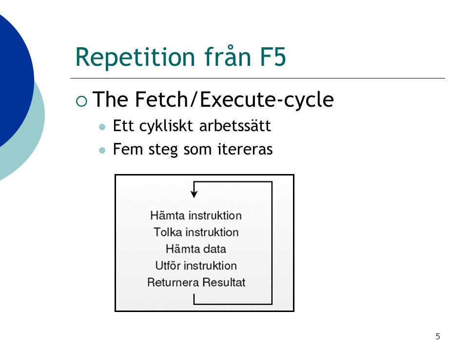 Repetition från F5 The Fetch/Execute-cycle Ett cykliskt arbetssätt
