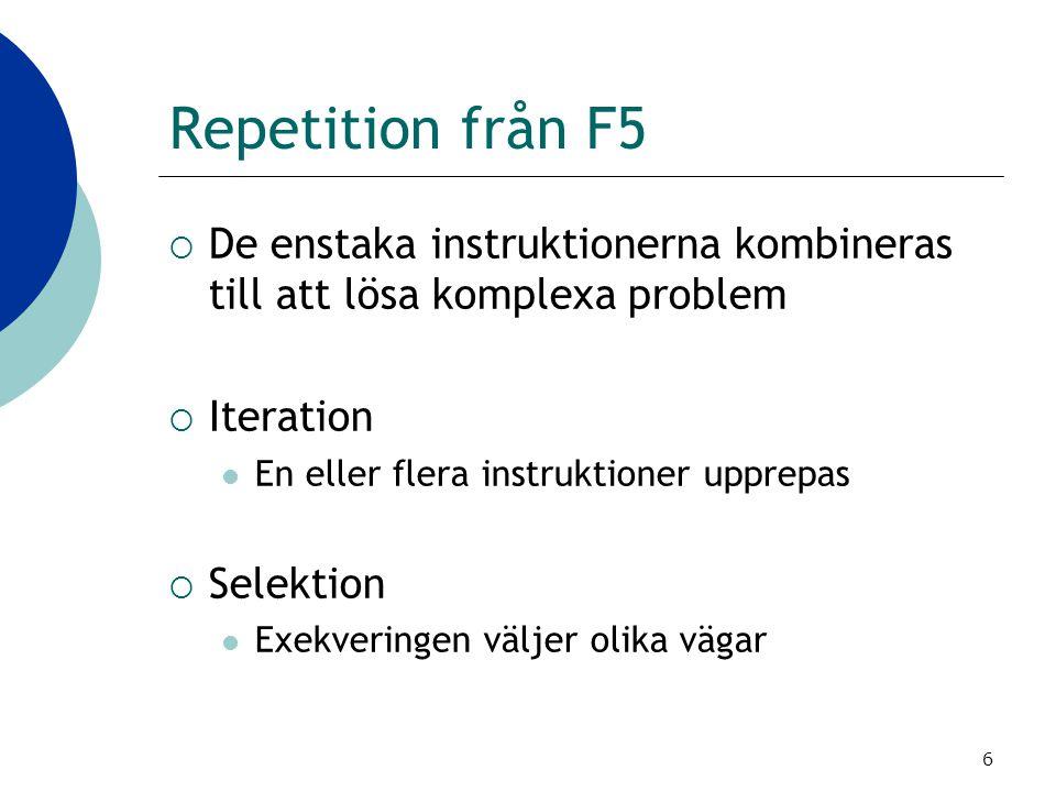 Repetition från F5 De enstaka instruktionerna kombineras till att lösa komplexa problem. Iteration.