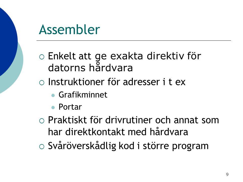 Assembler Enkelt att ge exakta direktiv för datorns hårdvara