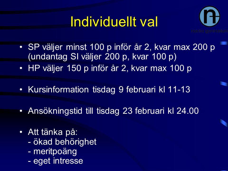 Individuellt val SP väljer minst 100 p inför år 2, kvar max 200 p (undantag SI väljer 200 p, kvar 100 p)