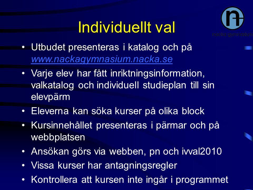 Individuellt val Utbudet presenteras i katalog och på www.nackagymnasium.nacka.se.