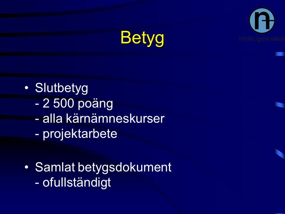 Betyg Slutbetyg - 2 500 poäng - alla kärnämneskurser - projektarbete