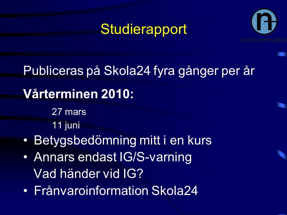 Studierapport Publiceras på Skola24 fyra gånger per år