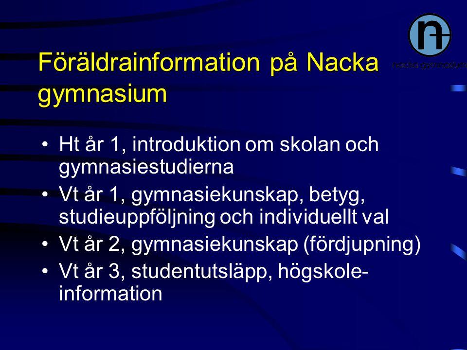 Föräldrainformation på Nacka gymnasium