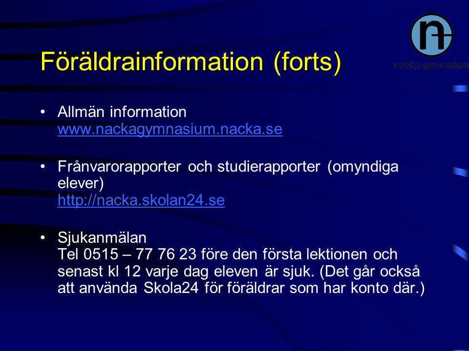 Föräldrainformation (forts)