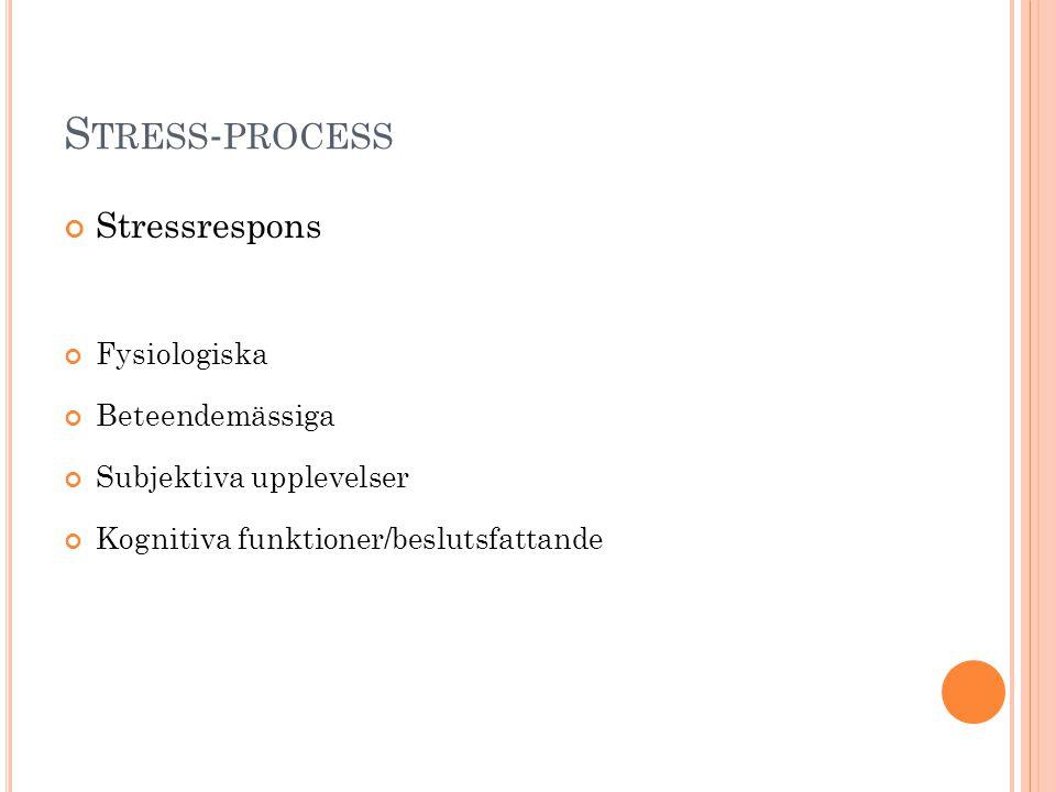 Stress-process Stressrespons Fysiologiska Beteendemässiga