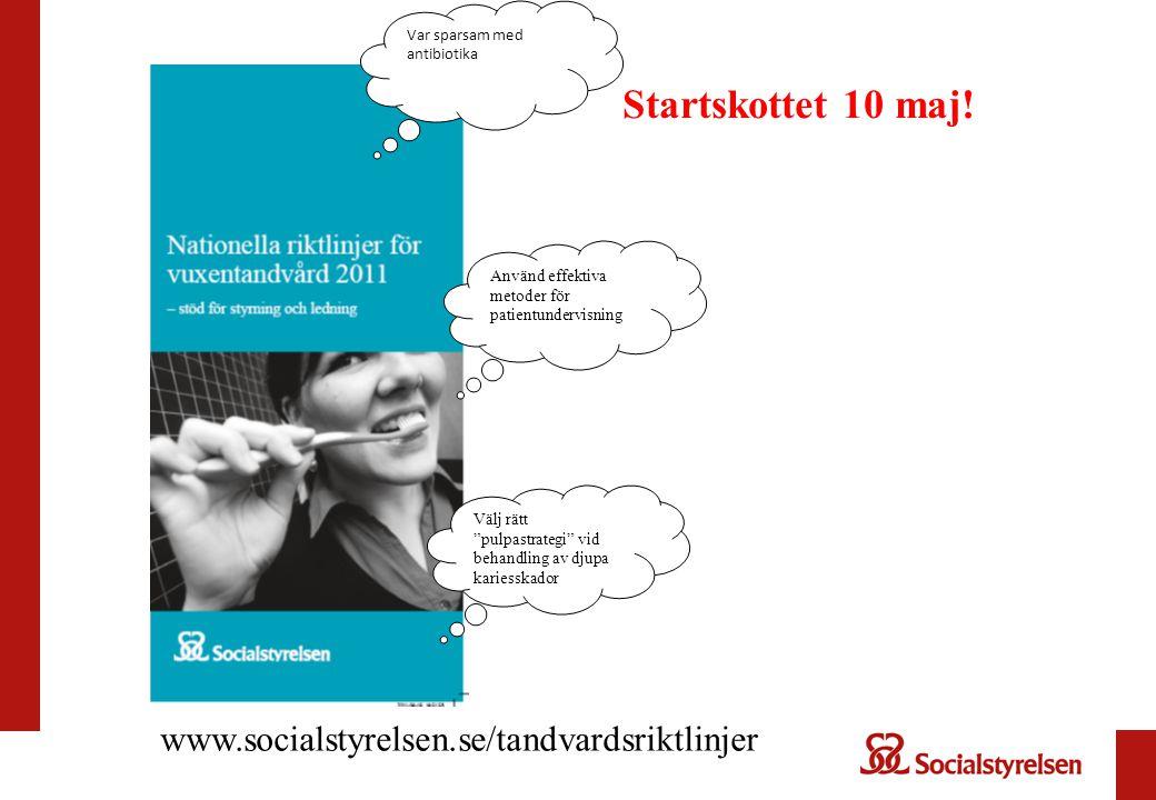 Startskottet 10 maj! www.socialstyrelsen.se/tandvardsriktlinjer