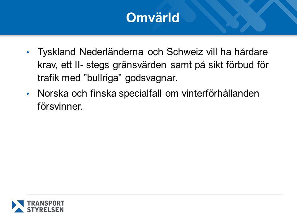 Omvärld Tyskland Nederländerna och Schweiz vill ha hårdare krav, ett II- stegs gränsvärden samt på sikt förbud för trafik med bullriga godsvagnar.