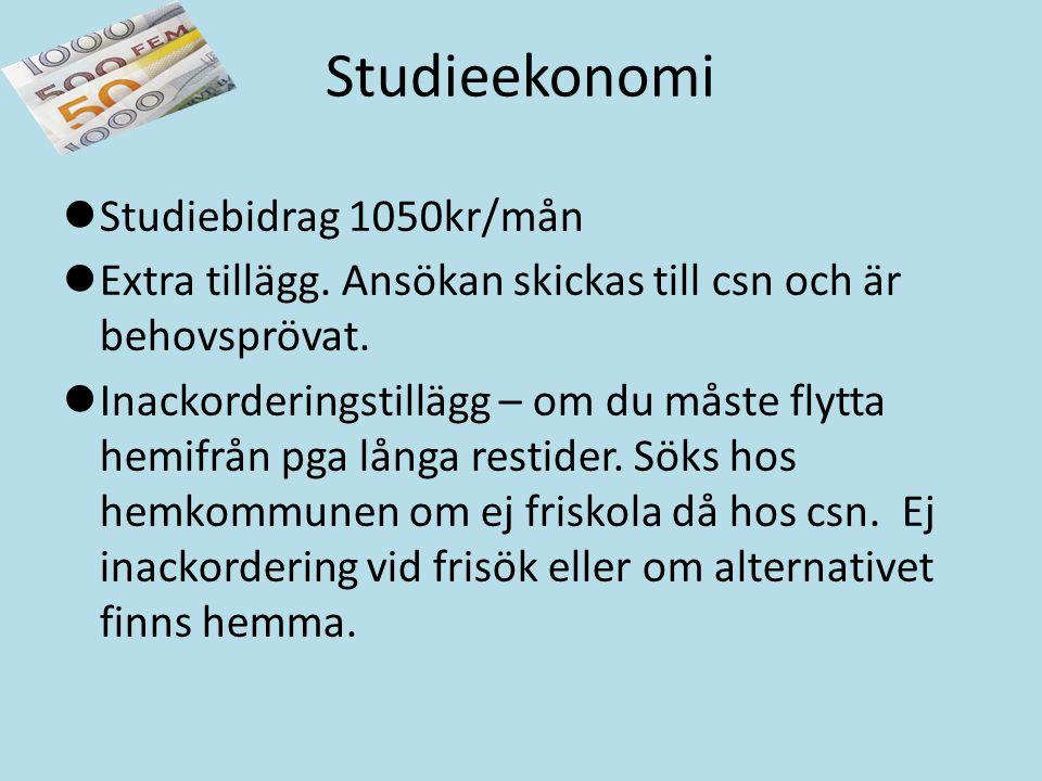 Studieekonomi Studiebidrag 1050kr/mån