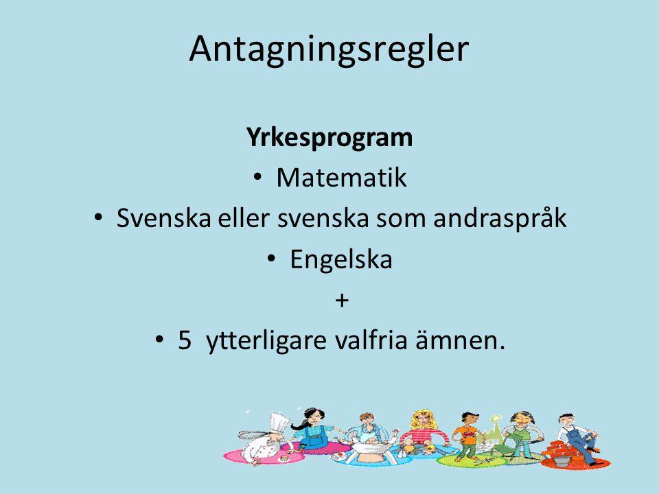 Antagningsregler Yrkesprogram Matematik