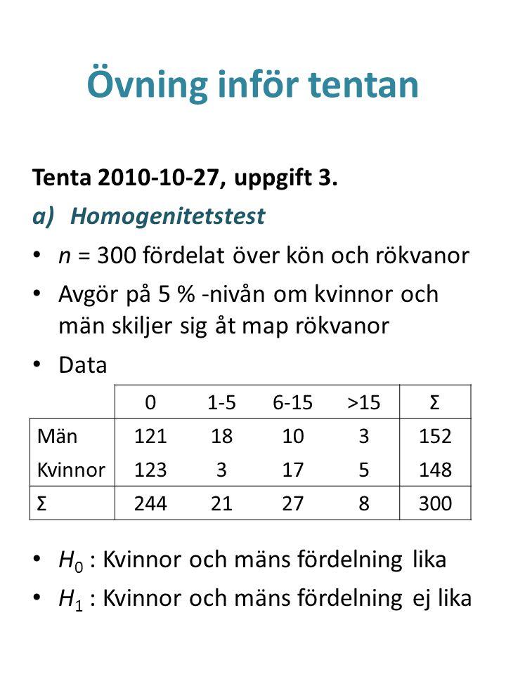 Övning inför tentan Tenta 2010-10-27, uppgift 3. Homogenitetstest