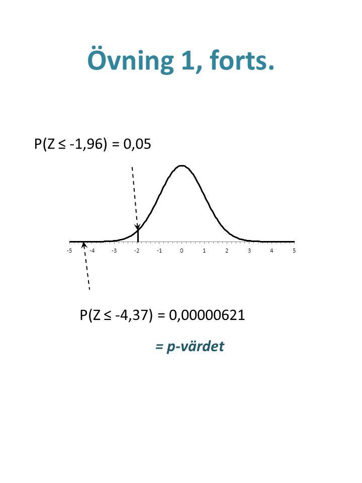 Övning 1, forts. P(Z ≤ -1,96) = 0,05 P(Z ≤ -4,37) = 0,00000621