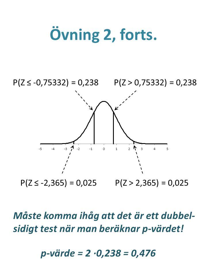 Övning 2, forts. Måste komma ihåg att det är ett dubbel- sidigt test när man beräknar p-värdet! p-värde = 2 ·0,238 = 0,476