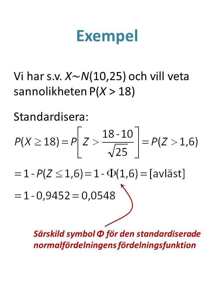 Exempel Vi har s.v. X~N(10,25) och vill veta sannolikheten P(X > 18) Standardisera: