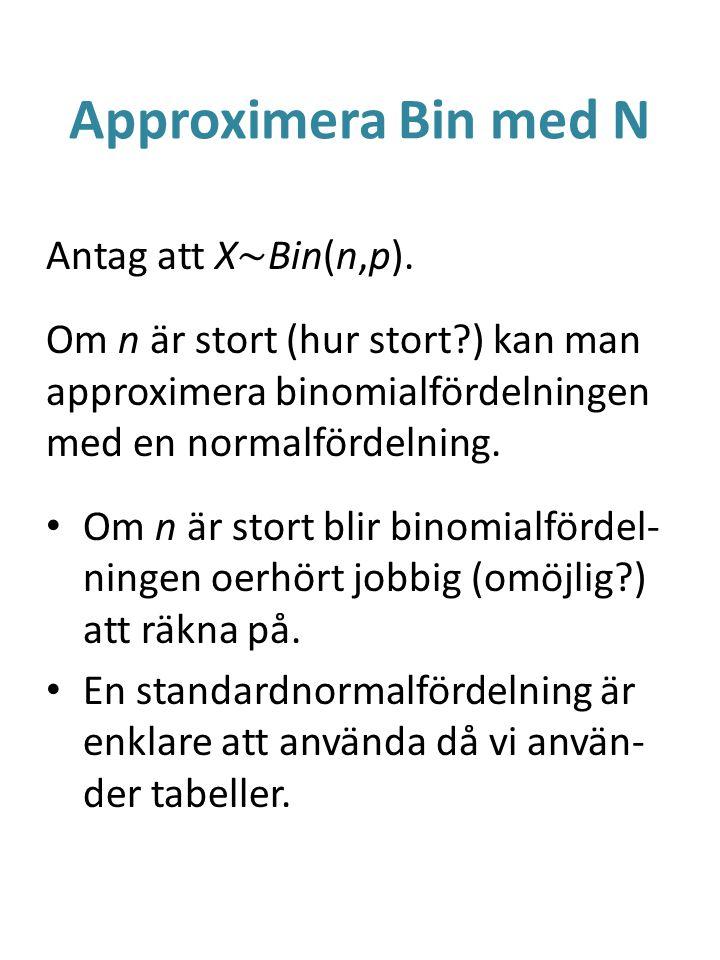 Approximera Bin med N Antag att X~Bin(n,p).