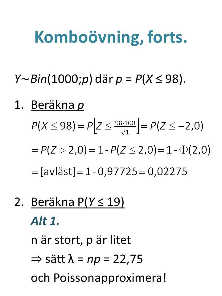 Komboövning, forts. Y~Bin(1000;p) där p = P(X ≤ 98). Beräkna p