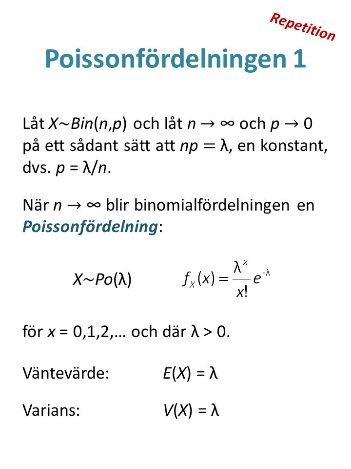 Repetition Poissonfördelningen 1.
