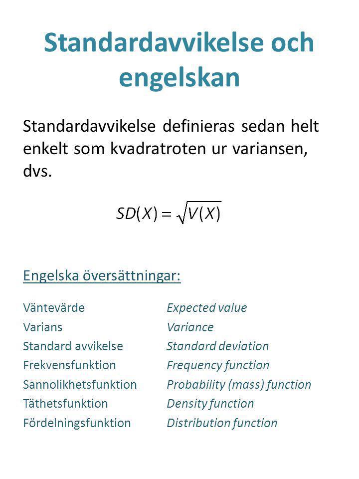 Standardavvikelse och engelskan