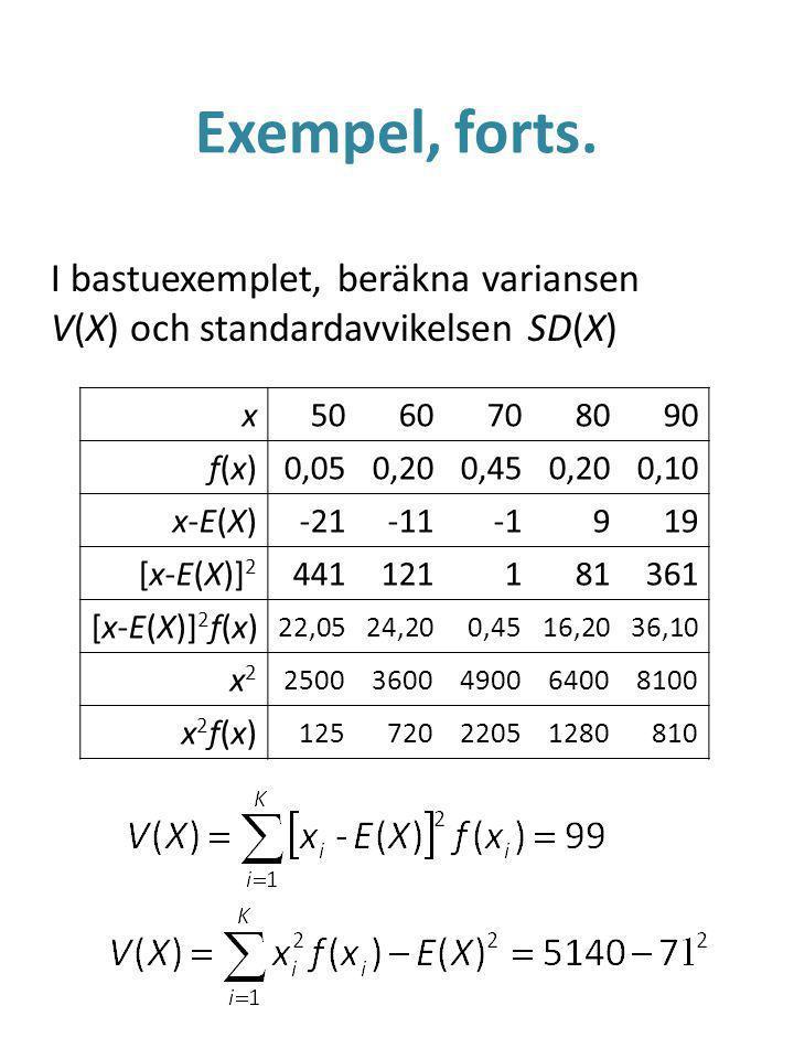Exempel, forts. I bastuexemplet, beräkna variansen V(X) och standardavvikelsen SD(X) x. 50. 60. 70.
